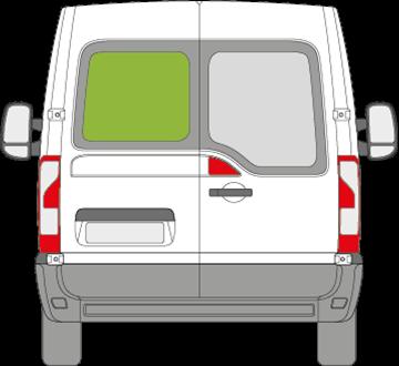Afbeelding van Achterruit links Renault Master met ontdooiing